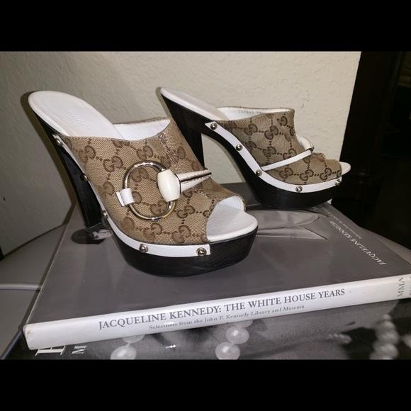 0b53d9fbfd2 Authentic GUCCI Horsebit Wood Mule/Slide Sandals